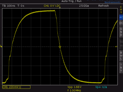1 MHz square wave on potentiometer P2
