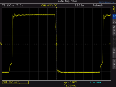 1 MHz square wave at the output of IC6B