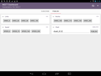 Screenshot tablet of MQTT client