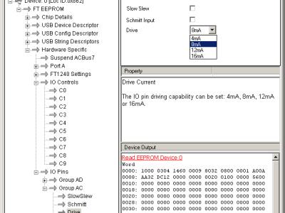Screendump of FT_Prog: setting drive current of port AC