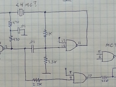 Crystal oscillator schematic, using MC857 DTL gate.