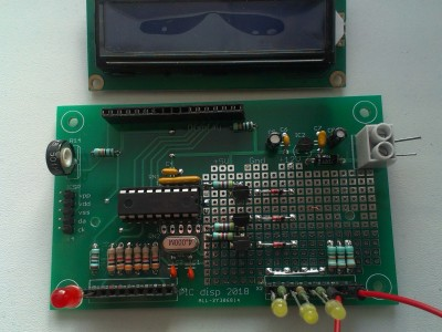 Prototype board for microcontroller with LCD