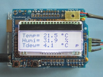 Measuring dew point, temperature and humidity with ENS210 and Arduino Uno