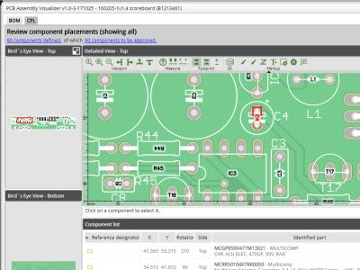 PCB Assembly Visualizer checkt Platine, Stückliste & Bestückungsplan