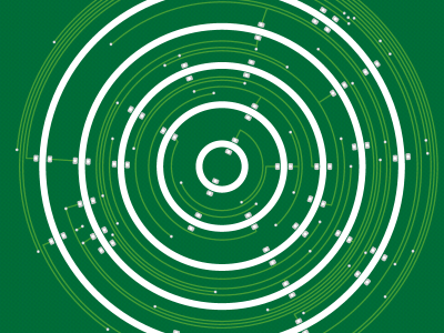 Bottom view of the first PCB design of the Circular Christmas Tree