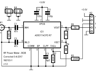 Schematic of the RF BOB of the RF Power Meter (160193-1 v1.0)