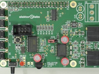 Top view Volume Control (160321-1 v1.0) for RPi Audio DAC (160198) - RPi version