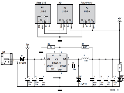Circuit diagram of RPi + hard disk power supply