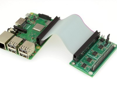 Buffer board connected to Raspberry Pi.