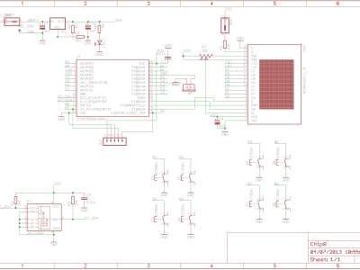 Chip 8 Schematics V2 (with LED, switches and backlight)