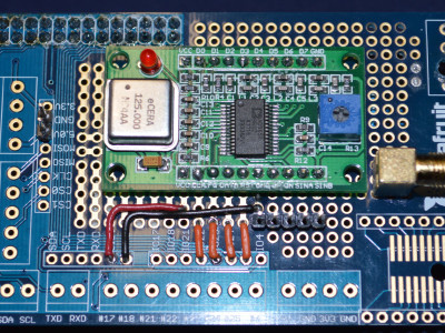 The DDS module, mounted on an Adafruit prototyping board