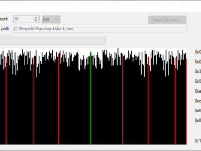 Screenshot of the PC desktop application for calibrating the analog filters and recording random data