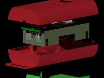 3D render of enclosure and PCB