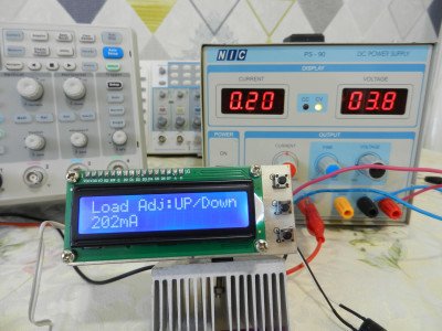 The constant current load adjustment by Up/Down push-buttons