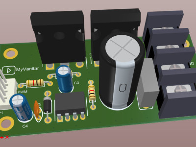 Figure-4, a 3D view of the motor driver PCB board