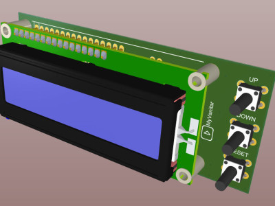 A 3D view of the assembled PCB board (TOP)