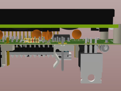 A 3D view of the assembled PCB board (Side)