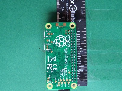 The Raspberry Pi Zero is plugged onto the Ruler gadget on the back side