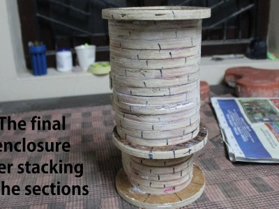 The structure is made by stacking individual sections of plywood