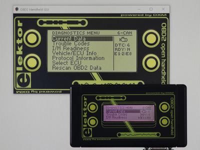 Elektor OBD2-Analyser NG in front of HHGui OBD2 Software