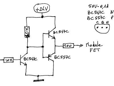 schéma de l'interface driver du module FET avec l'Arduino