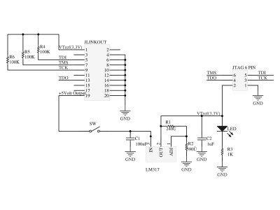 Schematic of 20 pin JLINK to 6 pin JTAG adapter