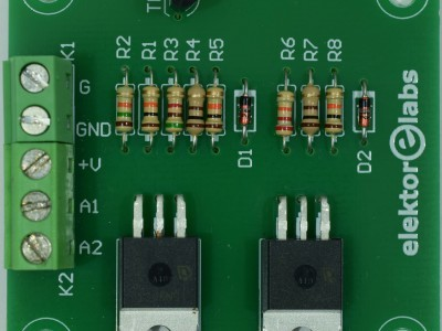 Top view of prototype PCB 160515-1 v1.1 (Two-anode MOSFET thyristor)