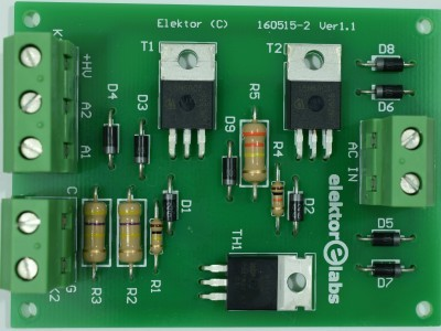 Top view of prototype PCB 160515-2 v1.1 (Two-anode MOSFET thyristor)