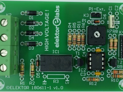 Top view of prototype PCB 180611-1 v1.1 (SRC Pulse Generator)