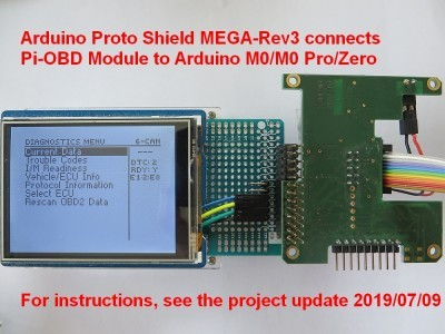 Pi-OBD Module attached to Arduino Proto Shield MEGA-Rev3