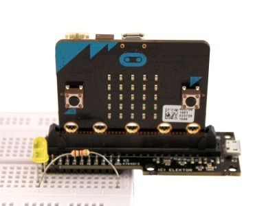 T-Board loaded with micro:bit, front view
