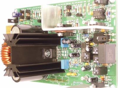 Side view on input 200W Class-D Audio Power Amplifier 150115-1 v2.1