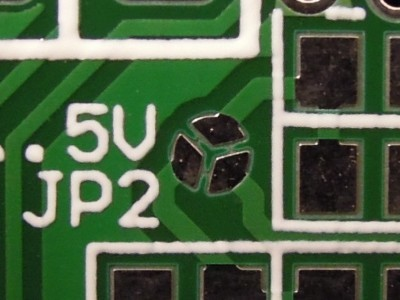 Detailed view on the solder jumper (open)