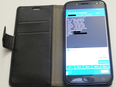 Connecting to the clock using a smartphone and a telnet app