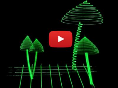 Champignons sonores animés sur oscillo