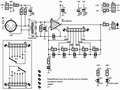Schematic 140426-1 v1.1 of microphone preamplifier