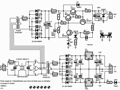 Schematic 140426-2 v1.0 of power supply for microphone preamplifier