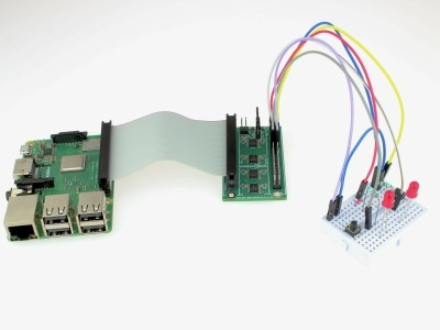 Buffer board connected to Raspberry Pi and breadboard.