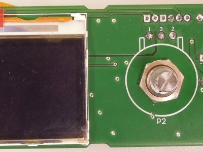 Display placed on bottom side of PCB 150210-1 v1.1