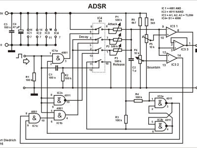 Image 5: circuit diagram ADSR. C3 and C4 are only used once on duble board.