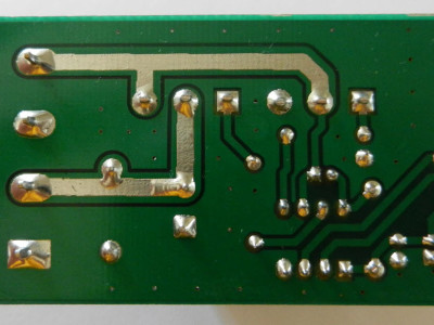 Figure-6,A bottom view of the PCB board prototype, the uncovered tracks