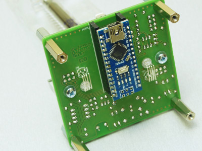 Solder side of the PCB with Arduino Nano installed
