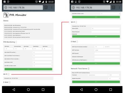 Change settings via web interface