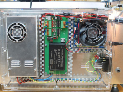 The electronics of the machine - power supply - optocoupler board - TinyG