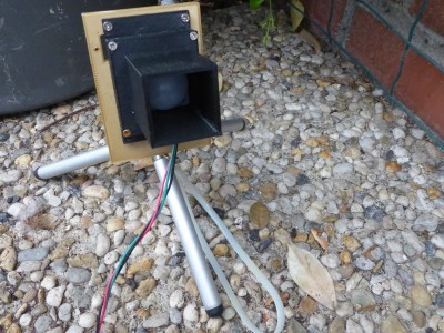 PIR sensor enclosure (3D printed) mounted on a camera tripod