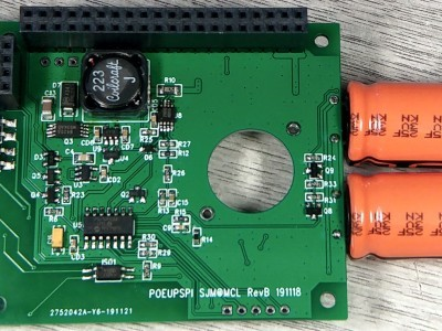 Rear view of assembled board