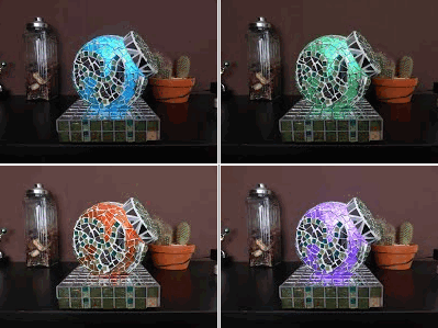 Magic colour changing lamp w/ wireless power and capacitive sensor