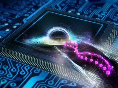 Zwarte gaten op een elektronische chip