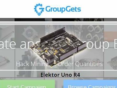 Schrijf u in voor een Elektor Uno R4 bij GroupGets