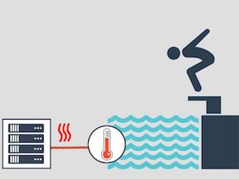 In Parijs verwarmen servers het zwembad